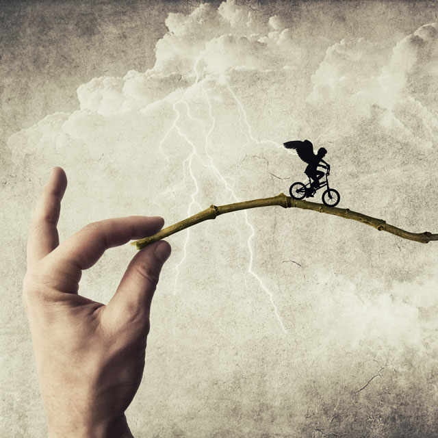 winged cyclist